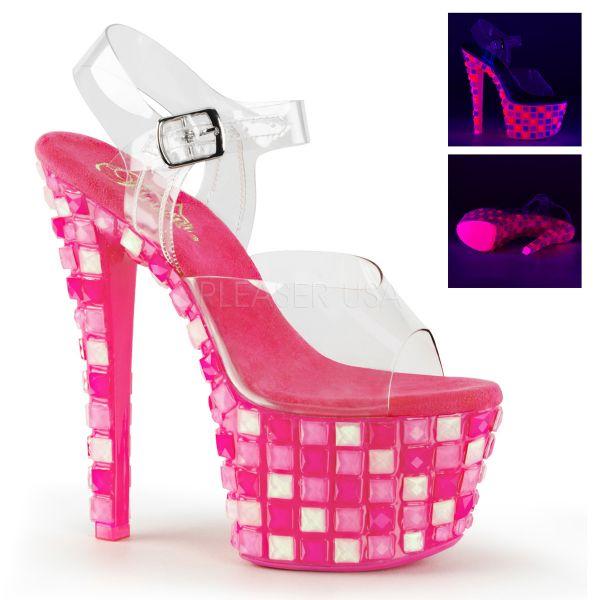 SKY-308UVTL neon hot pink     Durchsichtige Plateau Sandalette mit neon-hot-pinkem Plateau